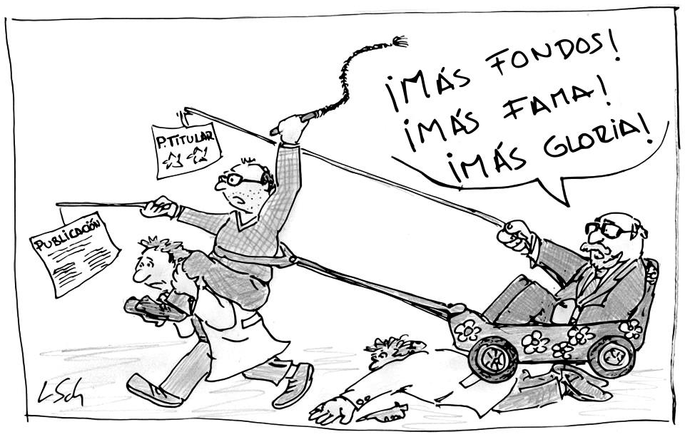 «Carrera de la ciencia». Imagen original de Leonid Schneider. Traducida a español por @aabrilru. CC BY-NC