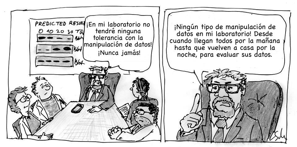 «No quiero manipulación en mi lab...». Imagen original de Leonid Schneider. Traducida a español por @aabrilru. CC BY-NC