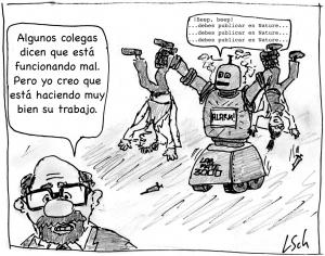 «El robot de la ciencia». Imagen original de Leonid Schneider. Traducida a español por @aabrilru. CC BY-NC